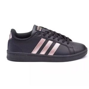 ADIDAS Womens Cloudfoam Shoes Black Rose Gold 8.5